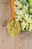 picture of meadowsweet  - Wooden spoon with dried flowers of meadowsweet a bouquet of fresh flowers of meadowsweet on a wooden board - JPG