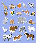 Set of animals  icons stickers