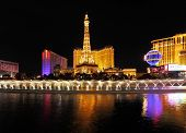 LAS VEGAS, USA - SEPTEMBER 29, 2009: Grand panorama of the night in Las Vegas.  Dancing Fountains at the Bellagio hotel