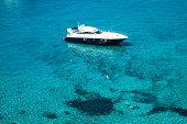 Luxury Yacht In Turquoise Illetes Formentera Mediterranean Sea Balearic Islands