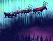 Santa Whith von Silvester Geschenke mit ihnen sechs Rentiere