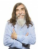 Senior Happy Smiling. Old Man Long Gray Hair Beard, Elder Isolated White Background