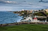image of el morro castle  - Crashing surf on the beach at El Morro Fortress - JPG