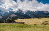 Picturesque View Of Piste And High Tatras In Springtime. Slovakia