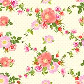 Seamless vector pattern with flowers and rose hips.