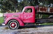 Barossa Valley, South Australia – May 29, 2014: Old Red Vintage Truck At The Entrance Of Kuchel Esta