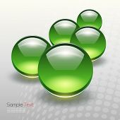 Background with 3D green sphere, vector illustration.
