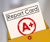 stock photo of first class  - A Plus Student Report Card Grade Class Rating Review Evaluation - JPG