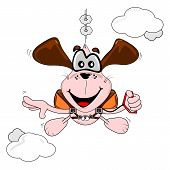 Cartoon dog parachuting