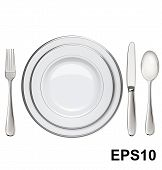Empty Plates With Silver Rims, Spoon, Fork, Knife Isolated On White. Vector Illustration
