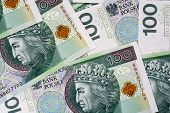 Background Of 100 Pln (polish Zloty) Banknotes