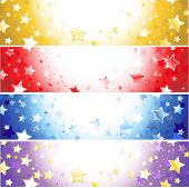 Four  Banners With Sparkling Stars