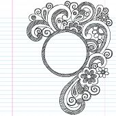 Circle Picture Frame Border Back to School Sketchy Notebook Doodles- Illustration Design Element on Lined Sketchbook Paper Background