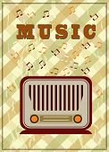 vintage music poster with old radio