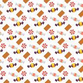 Sweet scandy and cookies seamless pattern