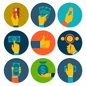 Set of colorful money in hands icons