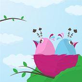 Two Little Birds In A Nest Having A Fight