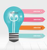Infographic design template. Light bulb with colorful infographics paper template, vector illustrati
