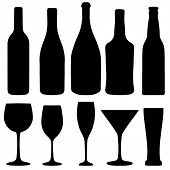 Set of different wine, champagne and beer bottles and glasses silhouettes. Vector illustration for y