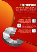 Red business background for brochure or poster with a circular graph and three choice