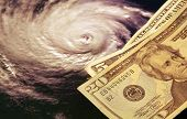 image of katrina  - Hurricane and US currency - JPG