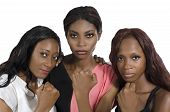 Three African Women Showing Fists