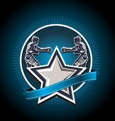 image of pugilistic  - Blue boxing icon or emblem showing two boxers fighting with a star in front and blank banner with copyspace below on a dark background - JPG