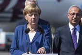 BERLIN, GERMANY - MAY 20, 2014: German Chancellor Angela Merkel (L), Turkish Minister of transport L
