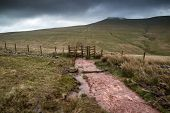 Landscape Image Of Corn Du Peak In Brecon Beacons Mountain Range In Britain