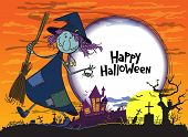 pic of witches  - Halloween greeting card with witch and moon - JPG