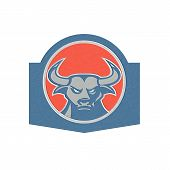 Metallic Angry Bull Head Circle Retro
