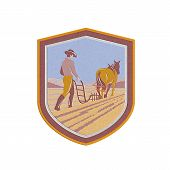 picture of horse plowing  - Metallic styled illustration of farmer and horse plowing farm field viewed from back set inside crest shield done in retro style on isolated background - JPG