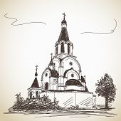 Sketch of Russian Orthodox Church. Hand drawn illustration