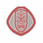 Metallic Maori Mask Face Front Shield Retro