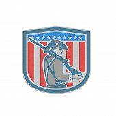 Metallic American Patriot Minuteman Holding Musket Rifle Shield Retro