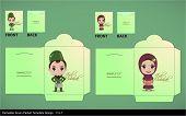 Vector Muslim Couple Greeting Hari Raya Money Green Packet Design. Translation: Eid Mubarak - Blessed Feast