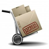 detailed illustration of a handtruck or trolley with cardboxes with express delivery label on them,