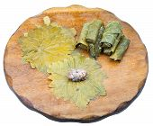 Cooking Of Dolma From Vine Leaves And Mince