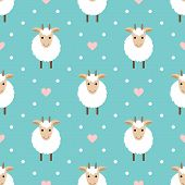 Polka Dots Seamless Pattern With Cute Goat.