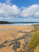 Treyarnon Bay Cornwall England UK Cornish north coast between Newquay and Padstow