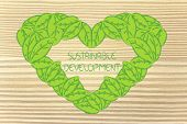 Ecology And Green Economy, Heart Made Of Leaves