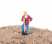 Miniature Worker With A Shovel