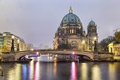 Berlin Cathedral And The Bridge Across The Spree River