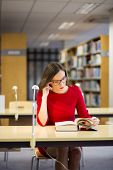 Woman Start Reading Fat Book With Glasses