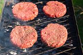 Raw beef burgers close up on a grill
