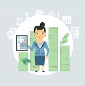 accountant counting money illustration