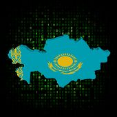 Kazakhstan map flag on hex code illustration