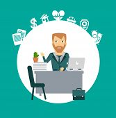 insurance agent sitting at a desk illustration