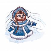 Owl Snow maiden character Vector Watercolor isolated.