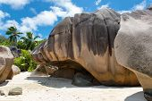 Tourist Attraction - Island Rocks at Beautiful Anse Source dArgent, Seychelles. A Perfect Place for Vacations.